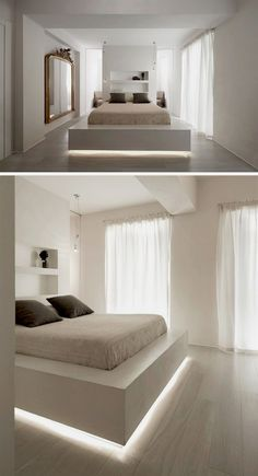 Future Home Interior 9 Examples Of Beds With Hidden Lighting Underneath // A strip of LED lights under this bed frame makes the bed appear to float. Under Bed Lighting, Hidden Lighting, Strip Lighting, Lighting Ideas, Bed With Led Lights, Bed Lights, Led Light Bed, Night Light, Bed Frame Design