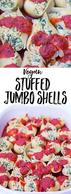 Vegan Stuffed Jumbo Shells with a simple tofu-cashew ricotta and spinach. #vegan #plantbased