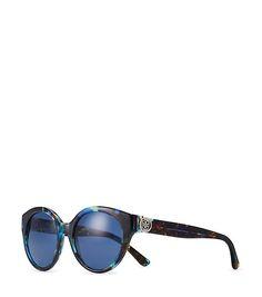 daae683c396 Reva Painted-Logo Round Sunglasses (Blue Brown Tort) Polarized Sunglasses