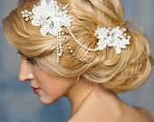 White bridal beaded lace pearl headpiece.
