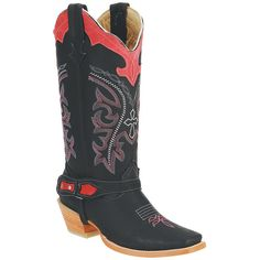 Joe Boots Black & Red Stitched Leather Cowboy Boot ($90) ❤ liked on Polyvore featuring shoes, boots, knee-high boots, black knee boots, cowboy boots, red leather boots, leather cowboy boots and black western boots