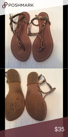 f33cc9d95f0031 Ralph Lauren leather thong sandals Preloved good condition copper bronze  color braided leather Ralph Lauren Shoes Sandals