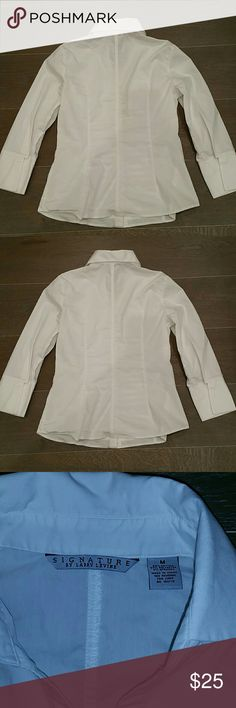 Larry Levine White Dress Shirt Larry Levine White Dress Shirt Crisp white stretch cotton  Horizontal pleated front Long cuffs Pop collar Tapered waistline Fitted styling    EUC Wrinkled but otherwise in great condition No stains, spots, blemishes, marks, tears, rips or holes. Larry Levine Tops Button Down Shirts