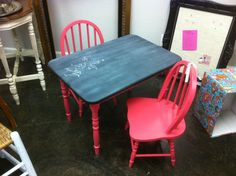 paint wood kids' table and chairs a solid color & chalkboard paint on tabletop