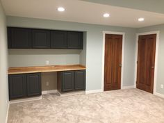 SW Sea Glass with Natural Wood - Finished Basement DIY