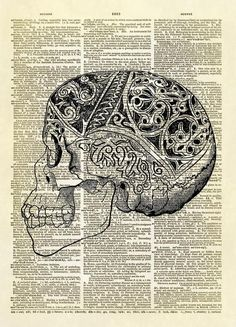 Decorated Human Skull Dictionary Art Print – Altered Artichoke