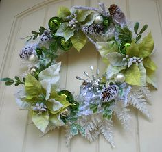 Green and White Christmas Wreath.