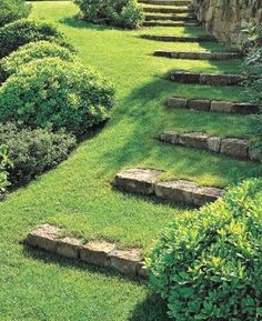 Grass Steps with Field Stone Risers Landscaping & Garden Design Projects Project Difficulty: Medium MaritimeVintage.com  #LandscapingGarden