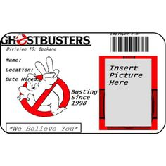 Ghostbusters Employee ID Card Ghost Busters From the Identity Props Store