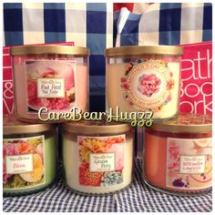 Bath and Body Works Garden Party candles 2014: Pink Petal Tea cake, Mothers Day Pink Petals, Bloom, Garden Party, Watermelon Lemonade