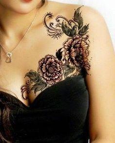 Ladies Chest Piece Flower Tattoo, Flower Tattoo On Ladies Chest Piece, Women Chest With Flowers Tattoo, Tattoos Of Cute Girls Chest