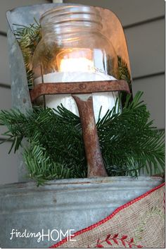 primitive christmas outside porch | And so a grapevine wreath was filled with a galvanized container and ...