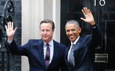 President Barack Obama and Britain's Prime Minister David Cameron wave from the steps of 10 Downing
