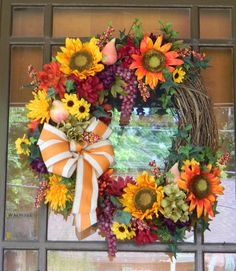 Fall wreath - Sunflowers, mums and grapes