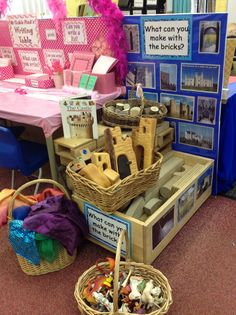 What can you make with the bricks? 4 types of bricks, material and small world figures ... lots of learning opportunities for everyone here!  LH