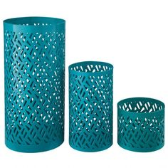Signature Design by Ashley Caelan Teal Candle Holder Set of 3