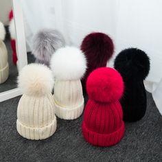 2017 Autumn and Winter Fox Hair Pompons Ball Casual Beanies Women Crochet  Knitting Wool Cap Female 4cc0d9b04408