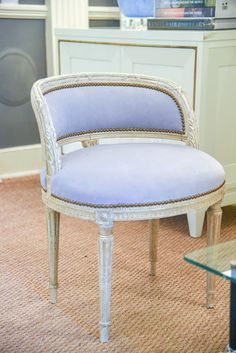 antique chair with new lavender upholstery | blue print | blueprintstore.com