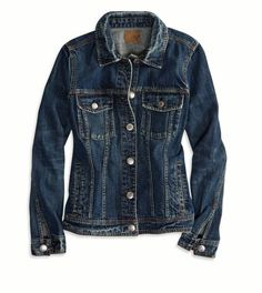 Dark indigo boyfriend #jeans #jacket by American Eagle outfitters. #denim