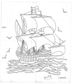 Colouring Pages, Adult Coloring Pages, Coloring Books, Vintage Embroidery, Embroidery Patterns, Hand Embroidery, Ship Drawing, Line Drawing, Line Artwork