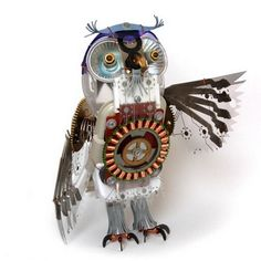 Fabulous owl built from old electronic parts (artist unknown).