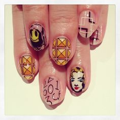 Bansky/Marilyn Monroe nails with illustrated studs by Nail Salon Avarice vianailsalonavarice