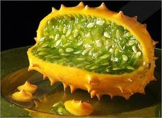 African cucumber  Native to Kalahari Desert, Africa  The African cucumber, horned melon or melano is a fruit that can be best described as melon with horns.