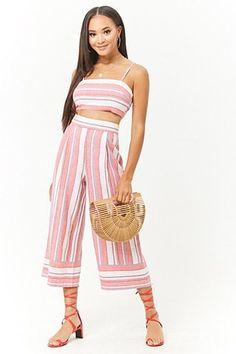 Linen-Blend Striped Culottes