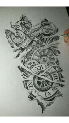 Tattoos And More – Tattoos News Pics Videos And Info Clock Tattoo Design, Tattoo Design Drawings, Tattoo Sketches, Tattoo Clock, Biomech Tattoo, Biomechanical Tattoo Design, Best Sleeve Tattoos, Tattoo Sleeve Designs, Neue Tattoos
