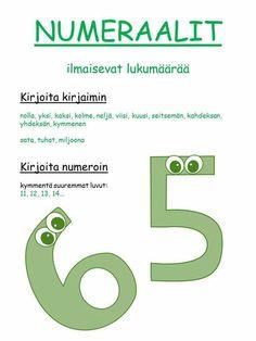 #sanaluokat #numeraalit Finnish Language, Teaching Aids, Second Language, Writing Skills, Primary School, Special Education, Grammar, Literacy, Literature