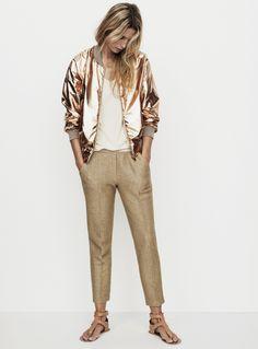RE (Nanushka metallic bomber jacket) Metallic Bomber Jacket, Gold Jacket, Gold Pants, Streetwear, Style Outfits, Moda Casual, Fashion Labels, Mode Style, Well Dressed