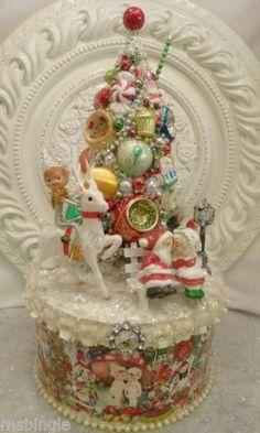 Vintage Santa & Pixie RIDING DEER ornaments Bottle Brush tree Arrangement