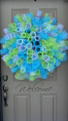 Spring Has Sprung HUGE Curly Deco Mesh Wreath by 3KidsInACabin, $49.95