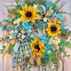 Blue and Yellow Sunflower Spring and Summer Mesh Door Wreath