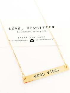 Good Vibes Necklace | Pick Your Positivity at http://loverewritten.bigcartel.com