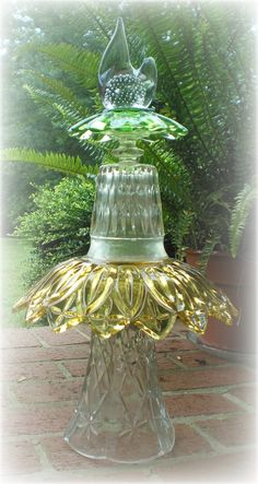 Garden Art Totem Vintage Glass