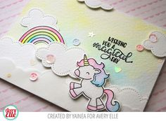 Today I have a card to show you that I enjoyed a lot making it, I used the new set Be a Unicorn from Avery Elle and since the first t. Unicorn Birthday Cards, Unicorn Party, Making Greeting Cards, Greeting Cards Handmade, Baby Cards, Kids Cards, Rainbow Card, Magic Cards, Card Making Inspiration