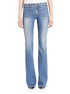 McGuire Inez Patch Flare Jeans - Blue - Size