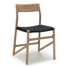 Heal's Fawn Dining Chair Oak & Black Webbing