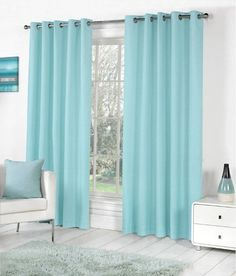 Teal curtains Living Room - Sorbonne Plain Dyed Heavy Cotton Eyelet Ring Top Lined Curtains, Duck Egg Blue. Eyelet Curtains Design, Ready Made Eyelet Curtains, Teal Curtains, Plain Curtains, Room Darkening Curtains, Lined Curtains, Teal Blinds, Blackout Curtains, Living Room Eyelet Curtains