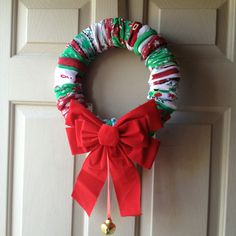 Sock wreath from Pinterest - I made it!