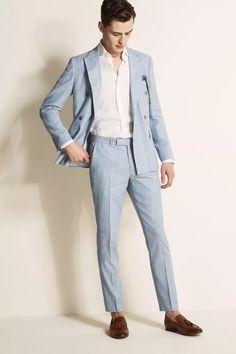 Tailored Fit Green Linen Suit Mens Light Blue Suit, Blue Linen Suit, Linen Suits For Men, Linen Wedding Suit, Wedding Attire, Slim Fit Suits, Smart Casual Outfit, Linen Jackets
