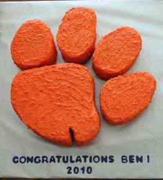 clemson tiger paw graduation cake, my cousin made for my husband! she rocks!