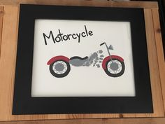 Footprint art baby motorcycle Fathers Day gift