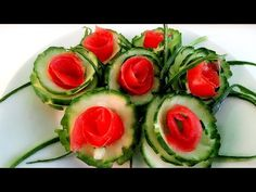 How to Make Cucumber Flowers - Vegetable Carving Garnish - Cucumber Roses Garnish - Food Decoration - YouTube