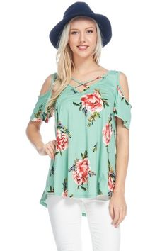 80f6d1c6a974d0 Mint Floral Cold Shoulder Ruffle Sleeve with Criss Cross Detail Top