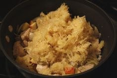 """Boneless Pork Ribs, Saurkraut, Apple, Lager """"Soup"""".  EXCELLENT.  Added 2+ T Gulden's Brown Mustard and bit of horseradish, served over 4 chs mashed potatoes."""