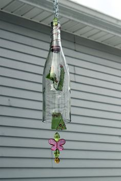 Wine Bottle Wind Chime with Green Slumped Glass by Itsallglass