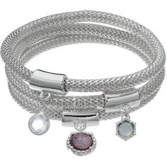 Jennifer Lopez Geometric Mesh Chain Bangle Bracelet Set (1,220 INR) ❤ liked on Polyvore featuring jewelry, bracelets, purple, jennifer lopez jewelry, bangle bracelet, jennifer lopez, purple jewelry and bracelets bangle