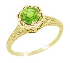 Art Deco Peridot Filigree Engagement Ring in 14 Karat Yellow Gold